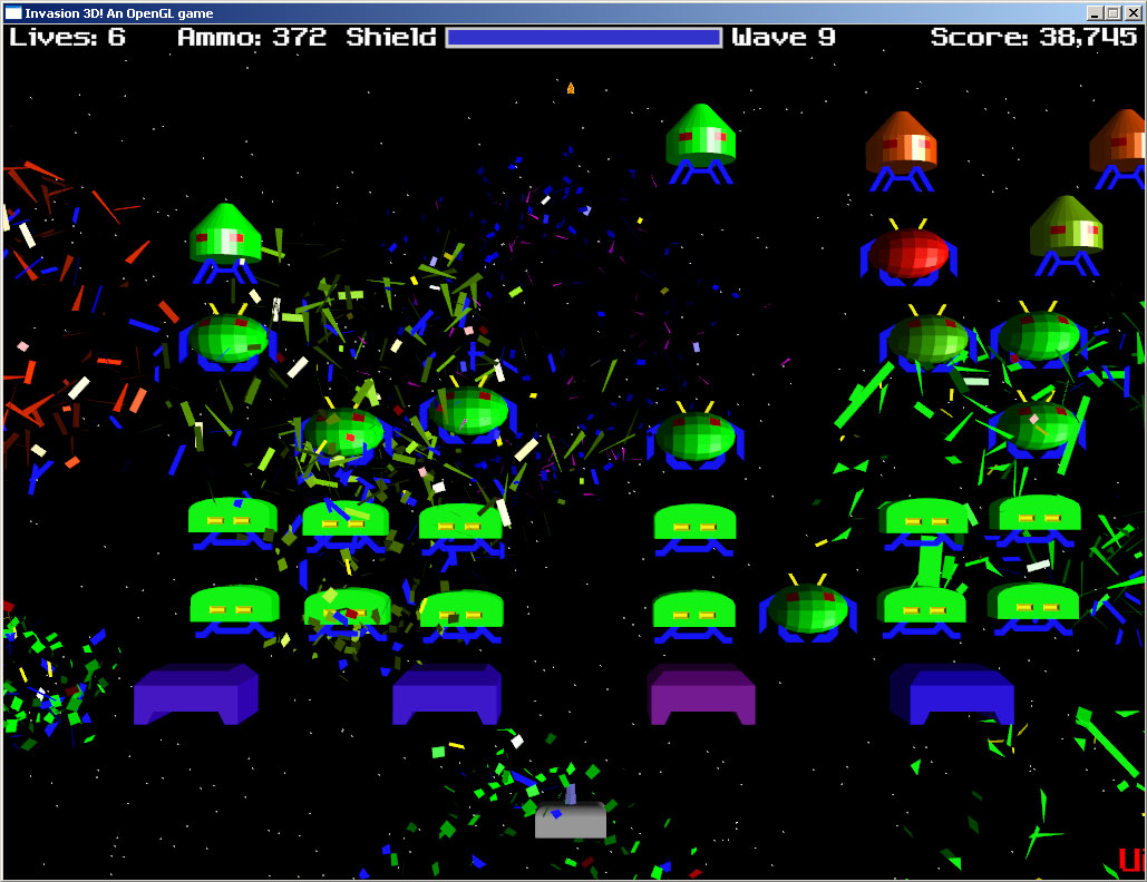 Space,Invaders,OpenGL,SDL,3D,,laser,game,fun,cool,arcade,windows,linux